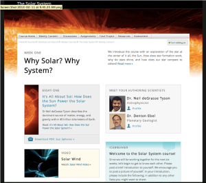 Weekly Home Page for The Solar System Course